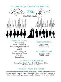 Fun Silhouette Wedding Programs