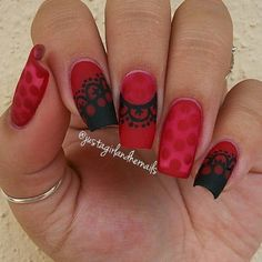 Art Nails: Black and red theme