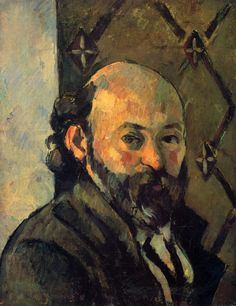 Self-portrait in front of olive wallpaper, 1881  Paul Cezanne