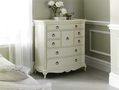 The Ivory Inspired French 8 Drawer Chest perfectly displayed. Absolutely gorgeous.