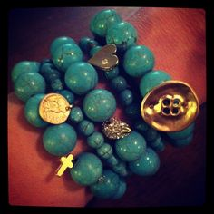 Stack of 5 Turquoise bracelets with Gold Pave Accents #bracelets #jewelry #accessories #turquoise #gold #stack #cross #spike #button #heart