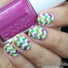 @Magnifique Nails totally nailed this spring inspired chevron nail art.