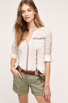 Lace-Sleeve Henley #anthropologie