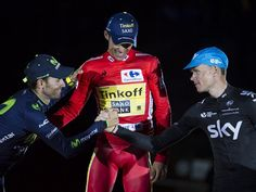 Team Sky | Photo Gallery | Vuelta a Espana stage 21 gallery Vuelta a Espana stage 21 gallery The trio congratulated each other on three weeks of tough but exciting racing