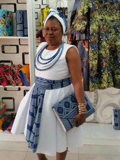 modern shweshwe dresses 2019 - style you 7 African Wedding Attire, African Attire, African Wear, African Women, African Dress, African Clothes, African Beauty, South African Traditional Dresses, Traditional Outfits