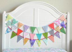 Kids Room Garland / Fabric Bunting / Birthday Banner Fabric / Rainbow Baby Shower Decorations / Fabric Garland / Vintage Nursery Decor / 9ft