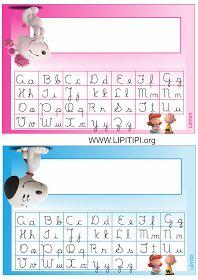 Lipitipi- Atividades e Projetos Fundamental I: Crachás de mesa com letra cursiva Snoopy e Fifi