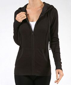 42POPS Black Zip-Up Hoodie | zulily . $12.99 $44.00 size: size chart  S Product Description:  A soft cotton-stretch blend ensures a cozy fit, while the zip-up design and drawstring hooded neckline lend athletic appeal.      54% cotton / 44% polyester / 2% spandex     Hand wash     Imported
