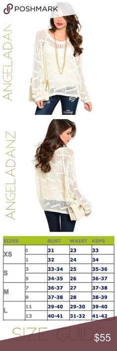"""Loose Knit Cream Color Sweater Fancy long sleeve top features a loose Geo theme knit design with drop shoulder seams. Tank top shown underneath is NOT included. 55% cotton and 45% acrylic. B: 25"""" W: 21"""" L: 27"""". Sweaters Crew & Scoop Necks"""