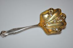 Antique Vintage Ornate TOWLE Sterling Silver Nut Spoon Gold Wash Nice NR #Towle
