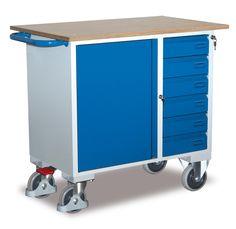 GTARDO.DE:  Werkstattwagen mit 6 Schubladen, Tragkraft 400 kg, Ladefläche 1000 x 600 mm, Maße 1111 x 600 x 911 mm, Rad 160 mm 355,00 €