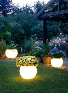DIY Glow In The Dark Planters. - followed the link and the blogger admits that the photo is photoshopped (likely just a high end LED planter) but she explores other options.