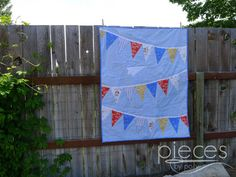Paper Airplane and Bunting Baby Boy Quilt