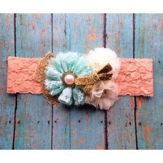 Mint and peach hairbow, lace headband, baby bow, hair bow, flower headband, photo prop, spring, newborn photo prop on Etsy, $17.95