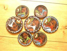 Vintage Leather Coasters Set Retro 1960s by GrandmasDowry on Etsy