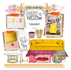 """Color Challenge: Pink and Yellow"" by gabree ❤ liked on Polyvore featuring interior, interiors, interior design, home, home decor, interior decorating, Bernhardt, Lalique, Baobab Collection and Missoni Home"