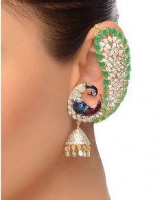 Kashmiri Peacock Earrings with Jhumki Asian Bridal Jewellery, Fancy Jewellery, Gold Jewellery Design, Indian Jewelry, Wedding Jewelry, Peacock Jewelry, Peacock Earrings, Bridal Earrings, Gold Earrings Designs
