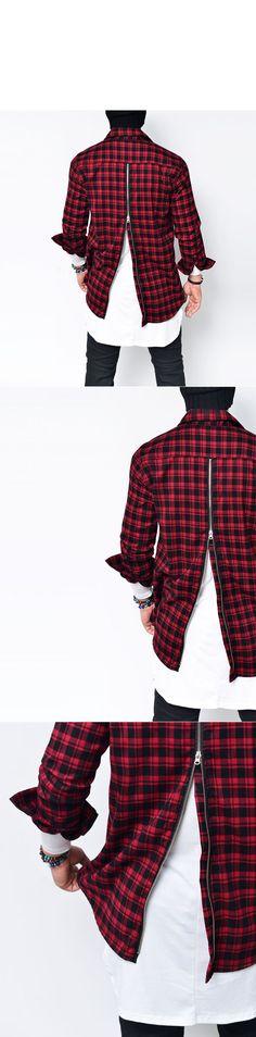 Vertical Back Zip Check F/W Flannel-Shirt 143 - GUYLOOK