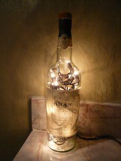UpCycled Oban Scotch Whisky Bottle Lamp by Binghamjames on Etsy, $16.00