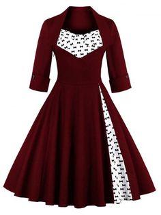 GET $50 NOW | Join RoseGal: Get YOUR $50 NOW!http://m.rosegal.com/vintage-dresses/bowknot-print-insert-swing-dress-869543.html?seid=7274527rg869543