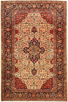 Antique Kashan Persian Rug 43262 Detail/Large View - By Nazmiyal >> fine example of an Antique wool Kashan