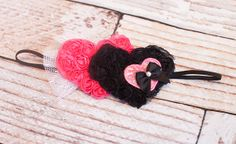 Two to Tango - dual chiffon rosette heart headband in pink and black by SoTweetDesigns on Etsy, $8.50