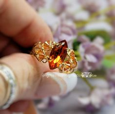 Ready to Ship Ring SALE, SAVE 15%, Madeira Topaz Vintage Swarovsk,i Hand Crafted Ring, Wire Wrapped, Signature Design, November Birthstone