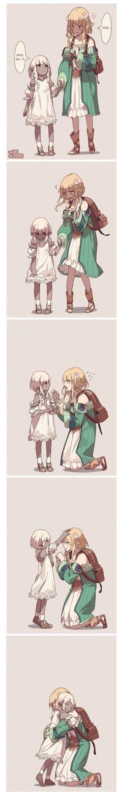 Dark Elf, Monster Girl, Manga Comics, Yuri, Cute Girls, Anime, Animation, Fantasy, Cartoon