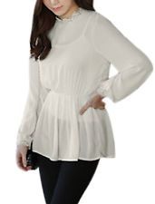 Lady Stand Collar Lace Patched Trim Unlined Chiffon Peplum Top