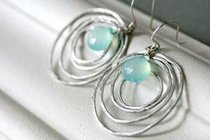 Aqua Chalcedony Silver Earrings - Silver Circles - Simple Modern Jewelry - Customize Gemstones
