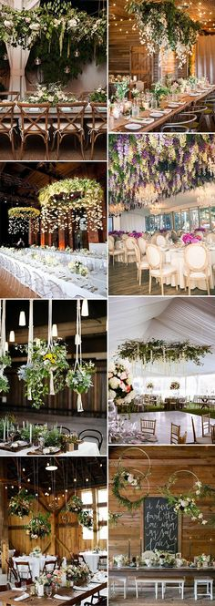 hanging floral wedding reception decoration ideas