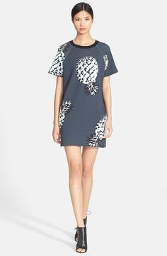 Free shipping and returns on MSGM Pineapple Print Knit Cotton T-Shirt Dress at Nordstrom.com. Graphically rendered pineapples tumble across the straight T-shirt silhouette of a crewneck dress made from pure cotton.