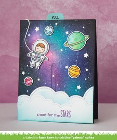 Lawn Fawn - Out of this World, Puffy Cloud Borders, Slide on Over _ slider card by Yainea for Lawn Fawn Design Team