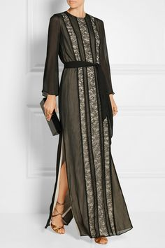 Alice + Olivia | Kye lace-paneled georgette maxi dress | NET-A-PORTER.COM