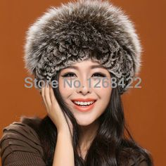 Free shipping  Fur hat female true cortex fox hair rabbit hair blended knitting warm winter fashion hat