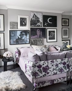 Add impact to a bedroom scheme with a statement floral bed and gallery wall. For more floral bedrooms check out www.theroomedit.com
