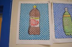 "Art Teacher Diaries ""Pop"" Art bottle drawings in the style of Lichtenstein. We used the benday dots handout provided in the blog. Middle school students learned about pop art and drawing perspective."