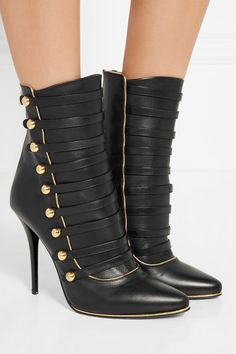 Heel measures approximately 110mm/ 4.5 inches Black leather Zip fastening along…