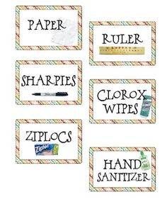 Colorful Classroom Supply Labels