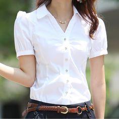 2019 Summer Women's Short Sleeve Cotton Blouses Shirts Plus Size Ladies Officewear Elegant Blouse Feminina White Formal Shirt Cotton Blouses, Shirt Blouses, Blazers For Women, Blouses For Women, Ladies Shirts Formal, Look Fashion, Korean Fashion, Style Preppy, White Short Sleeve Blouse