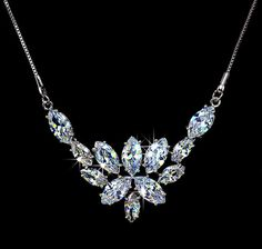 Marquise Cut Cubic Zirconia Wedding Necklace, Diamond Bridal Pendant Necklace,  Bridal Statement Necklace, Diamond Floral Necklace,  AN0022