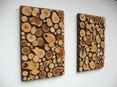 Set of Two Rustic Wood Art Sculptures Wood Slices. $150.00, via Etsy.