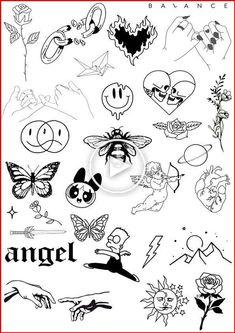 Tattoo flash sheet Flash tattoo designs, Tattoo flash
