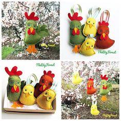 A mano decorazioni di Pasqua pollo pulcino galletto gallo di TheBigForest su Etsy https://www.etsy.com/it/listing/218428138/a-mano-decorazioni-di-pasqua-pollo