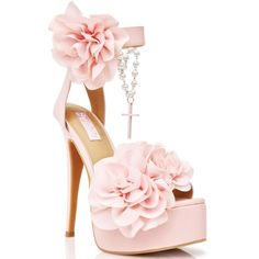 Sugarbaby Rosary Cross Pink Heels ($98) ❤ liked on Polyvore featuring shoes, pumps, flower pumps, pink shoes, pink platform shoes, open toe pumps and ankle strap platform pumps