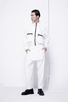 White Zipped Cotton Shirt by PATH new in #WeAreSelecters Stores #menswear #seoul
