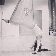 AntiGravity Aerial Yoga Iceland. This beautiful pose is called the swan