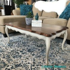 Creative Moments: French Provincial Coffee table with Stained Top and Dixie Belle drop cloth base Ikea Lack Coffee Table, Coffee Table Makeover, Rattan Coffee Table, Diy Coffee Table, Diy Table, Coffee Cake, Plain Wooden Boxes, Live Edge Furniture, Table Furniture