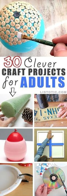 fun crafts for adults or kids. Clever projects you can make at home on a budget. Diy Craft Projects, Kids Crafts, Diy Projects For Adults, Arts And Crafts For Adults, Adult Crafts, Easy Diy Crafts, Creative Crafts, Diy Crafts To Sell, Home Crafts