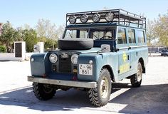 Land Rover Santana 109 Serie II A SWB Safari top by Santana Motor Factory. Spain. Railway station service in Zaragoza. ARAGON Spain.  Love this because was my father's family car in the 60th.